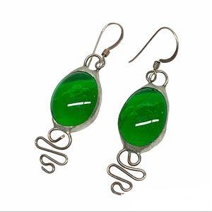 Vintage artisan sterling silver green glass drop earrings